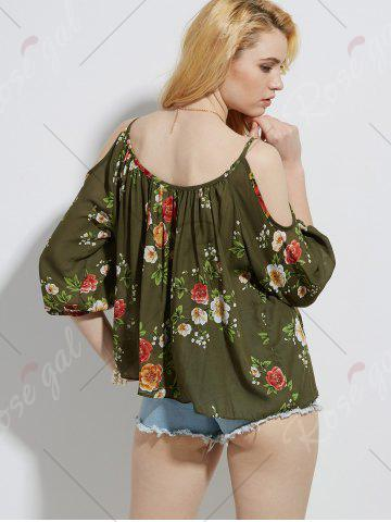 Best Cold Shoulder Floral Print Blouse - S ARMY GREEN Mobile