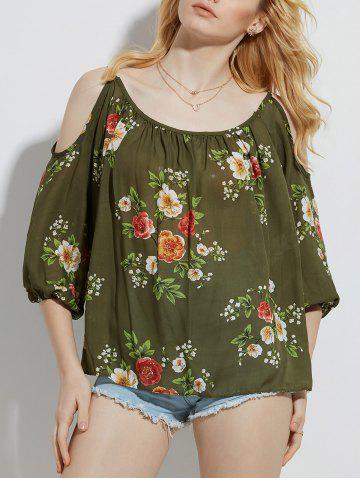 Trendy Cold Shoulder Floral Print Blouse - S ARMY GREEN Mobile