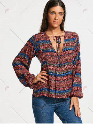 Shop Plunging Neckline Bohemia Print Long Sleeve Blouse - L RED Mobile