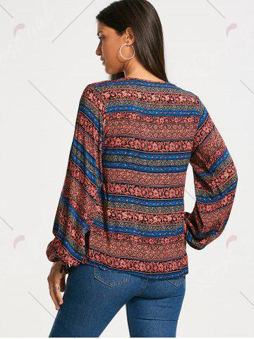 Affordable Plunging Neckline Bohemia Print Long Sleeve Blouse - XL RED Mobile