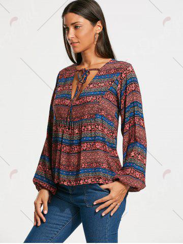 Affordable Plunging Neckline Bohemia Print Long Sleeve Blouse - 2XL RED Mobile