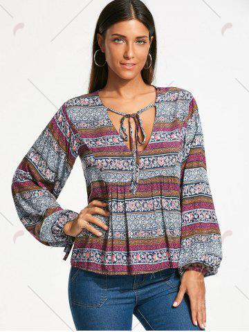New Plunging Neckline Bohemia Print Long Sleeve Blouse - 2XL WHITE Mobile