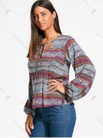 Affordable Plunging Neckline Bohemia Print Long Sleeve Blouse - 2XL WHITE Mobile