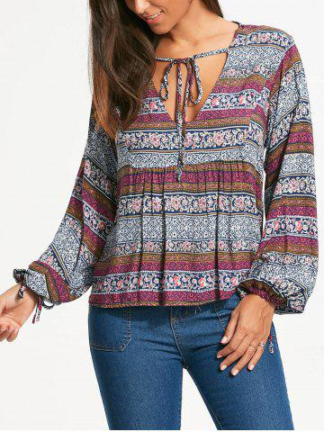 Affordable Plunging Neckline Bohemia Print Long Sleeve Blouse - XL WHITE Mobile