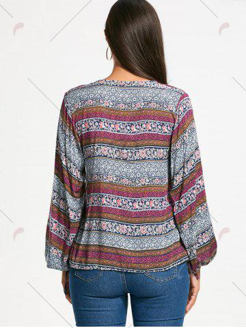 Discount Plunging Neckline Bohemia Print Long Sleeve Blouse - L WHITE Mobile