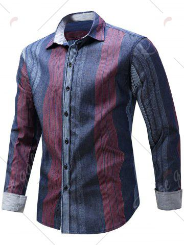 Store Color Block Panel Stripe Chambray Shirt - M BLUE AND RED Mobile