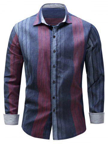 Online Color Block Panel Stripe Chambray Shirt BLUE AND RED M