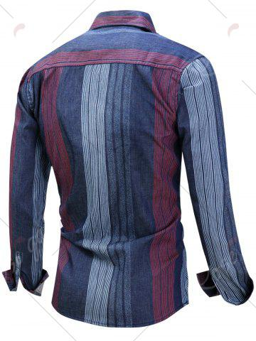 Shop Color Block Panel Stripe Chambray Shirt - M BLUE AND RED Mobile
