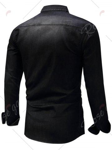 New Long Sleeve Bleached Pocket Chambray Shirt - M BLACK Mobile