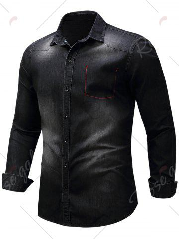 Sale Long Sleeve Bleached Pocket Chambray Shirt - M BLACK Mobile