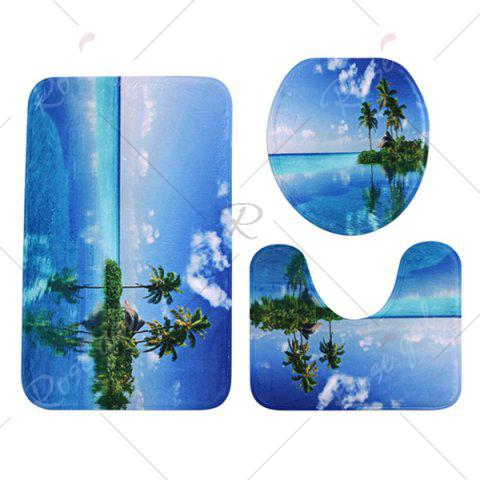 New Ocean Island Pattern 3 Pcs Bath Mat Toilet Mat - BLUE  Mobile