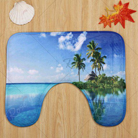 Shop Ocean Island Pattern 3 Pcs Bath Mat Toilet Mat - BLUE  Mobile