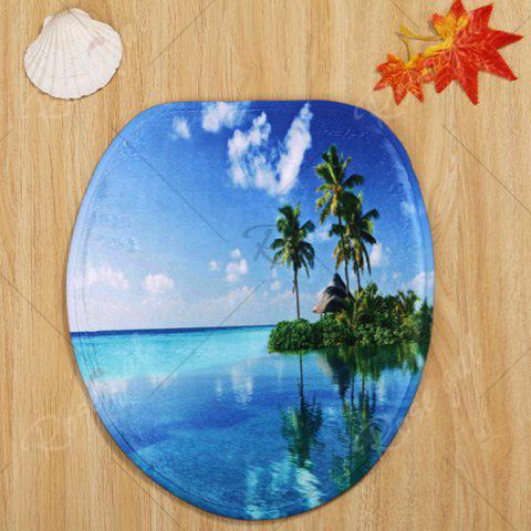 Hot Ocean Island Pattern 3 Pcs Bath Mat Toilet Mat - BLUE  Mobile