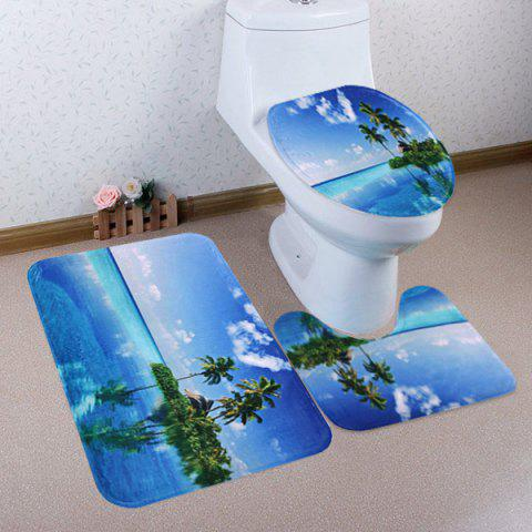 Outfits Ocean Island Pattern 3 Pcs Bath Mat Toilet Mat - BLUE  Mobile