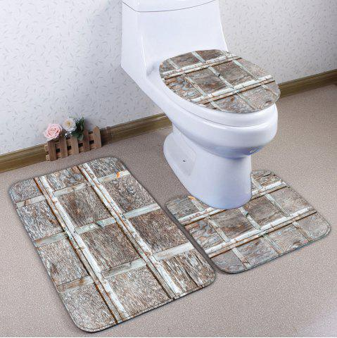 Hot Wood Grain Plaid 3Pcs/Set Flannel Bath Toilet Mats - WOOD COLOR  Mobile