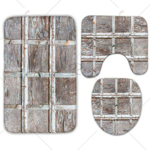 Best Wood Grain Plaid 3Pcs/Set Flannel Bath Toilet Mats - WOOD COLOR  Mobile