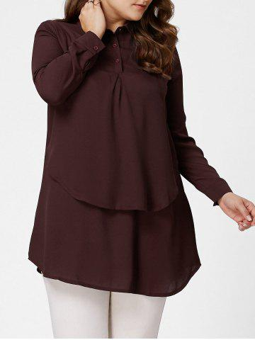 Affordable Plus Size Layering Full Sleeve Long Tunic Shirt - 4XL DARK RED Mobile