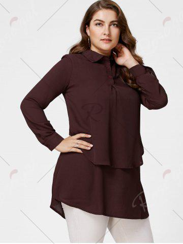 Store Plus Size Layering Full Sleeve Long Tunic Shirt - 4XL DARK RED Mobile