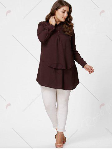 Sale Plus Size Layering Full Sleeve Long Tunic Shirt - 4XL DARK RED Mobile