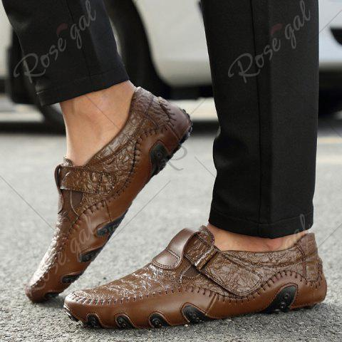 Cheap Stitching Embossed Slip On Casual Shoes - 38 BROWN Mobile