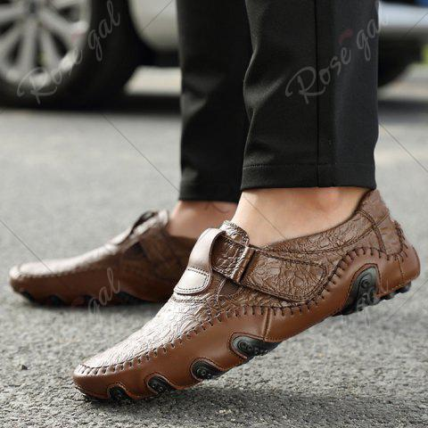 Fashion Stitching Embossed Slip On Casual Shoes - 38 BROWN Mobile