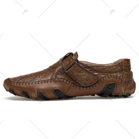 Sale Stitching Embossed Slip On Casual Shoes - 38 BROWN Mobile