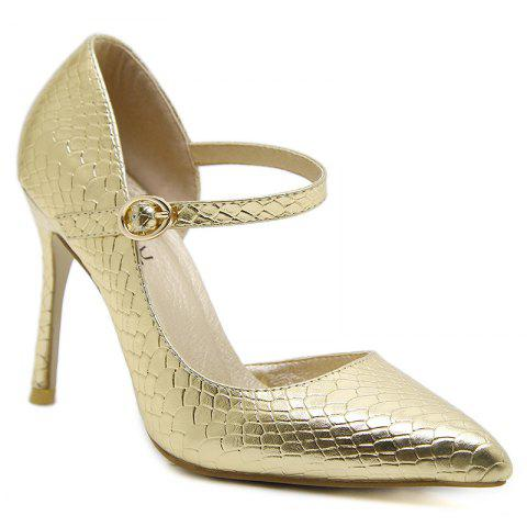 Latest Buckle Strap Snake Embossed Pumps