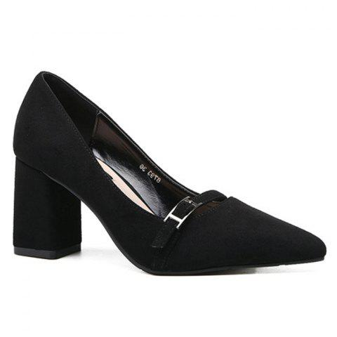 Unique Contrast Buckle Strap Block Heel Pumps BLACK 37