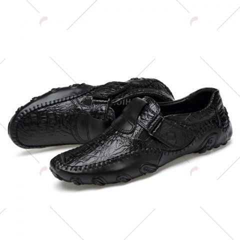 Chic Stitching Embossed Slip On Casual Shoes - 38 BLACK Mobile