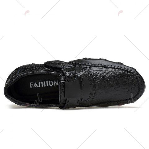 Shops Stitching Embossed Slip On Casual Shoes - 38 BLACK Mobile