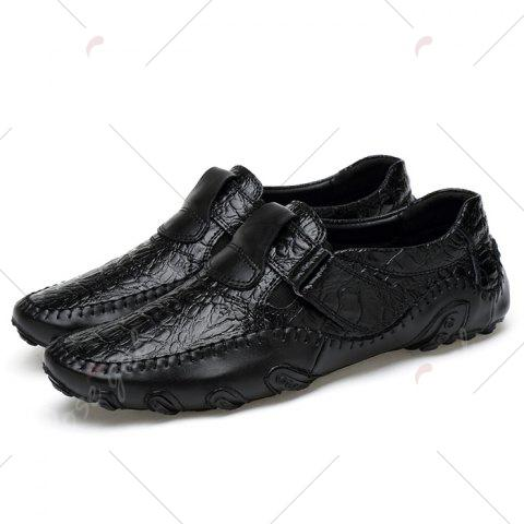 Outfit Stitching Embossed Slip On Casual Shoes - 38 BLACK Mobile