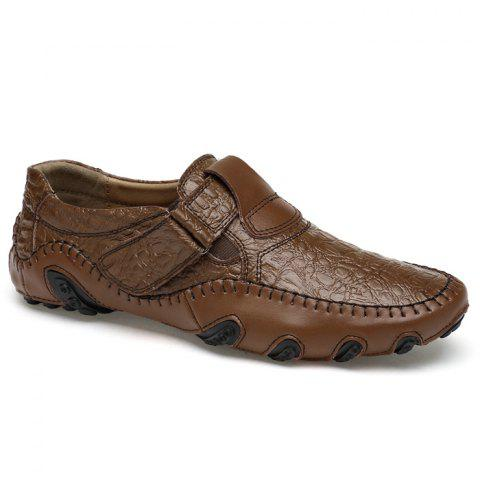 Stitching Embossed Slip On Casual Shoes - Brown - 40