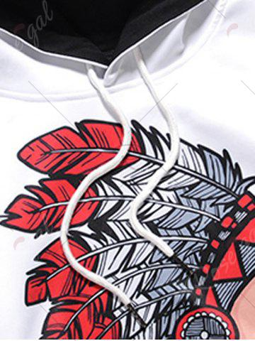 Affordable Hooded Chief Print Pocket Hoodie - M WHITE Mobile