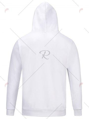Latest Hooded Chief Print Pocket Hoodie - M WHITE Mobile