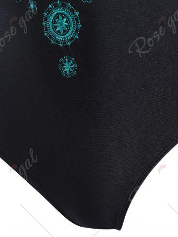 Shop Plus Size Cross Back Embroidered Swimsuit - 4XL BLACK Mobile