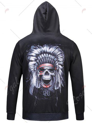 Shop Pocket Hooded Chief Skull Print Hoodie - M BLACK Mobile