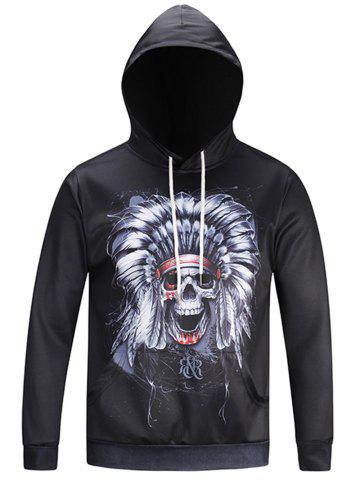 Cheap Pocket Hooded Chief Skull Print Hoodie - 3XL BLACK Mobile