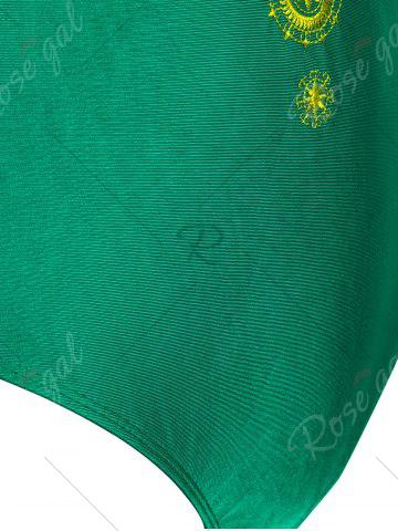 Unique Plus Size Cross Back Embroidered Swimsuit - XL GREEN Mobile