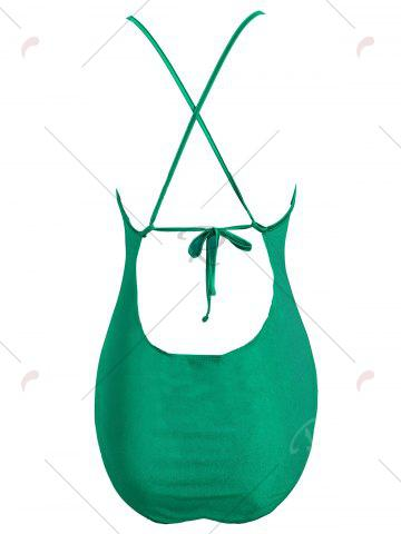 Latest Plus Size Cross Back Embroidered Swimsuit - 2XL GREEN Mobile