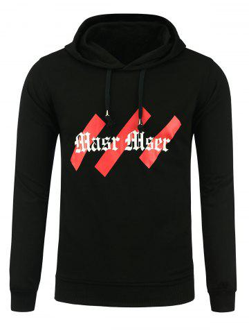 Unique Drawstring Graphic Print Hoodie - M BLACK Mobile