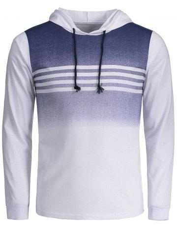 Trendy Stripe Ombre Drawstring Pullover Hoodie - M WHITE Mobile