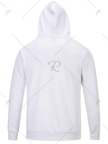 Affordable Chief Hat Print Hooded Pocket Hoodie - M WHITE Mobile