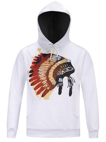 Discount Chief Hat Print Hooded Pocket Hoodie - M WHITE Mobile