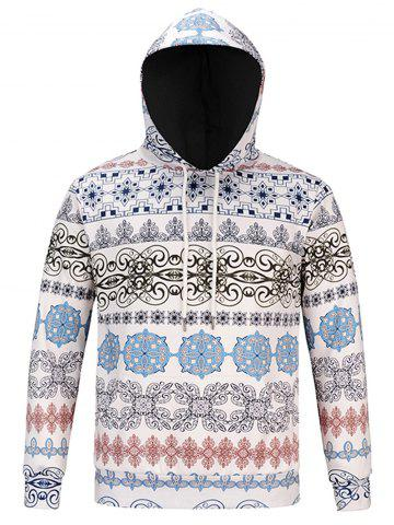 Fashion Ethnic Style Florals Print Hoodie - M COLORMIX Mobile