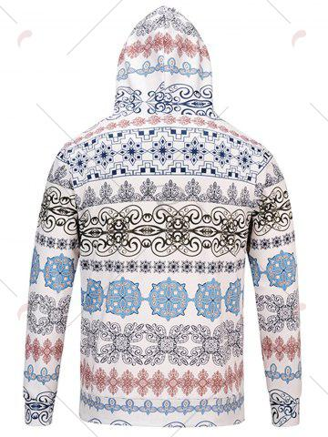 Cheap Ethnic Style Florals Print Hoodie - M COLORMIX Mobile