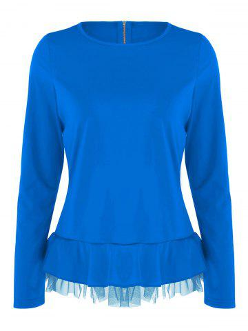 Sale Flounce Mesh Panel Long Sleeve Top - XL BLUE Mobile