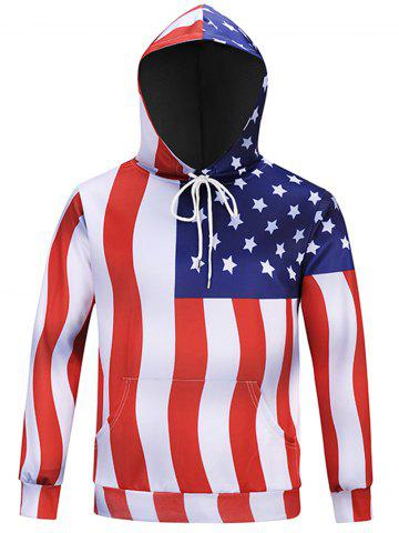 Affordable Chevron Stripe American Flag Hoodie - M COLORMIX Mobile