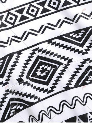 Affordable Ethnic Geometric Print Hoodie - M BLACK WHITE Mobile