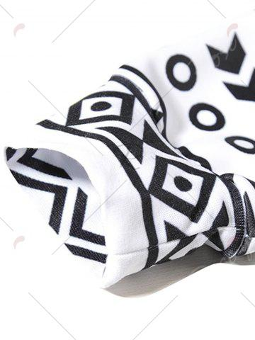 Fashion Ethnic Geometric Print Hoodie - M BLACK WHITE Mobile
