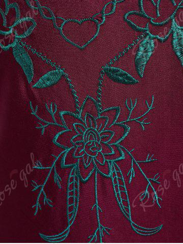 Online Cross Back Embroidered Plus Size Swimsuit - XL WINE RED Mobile